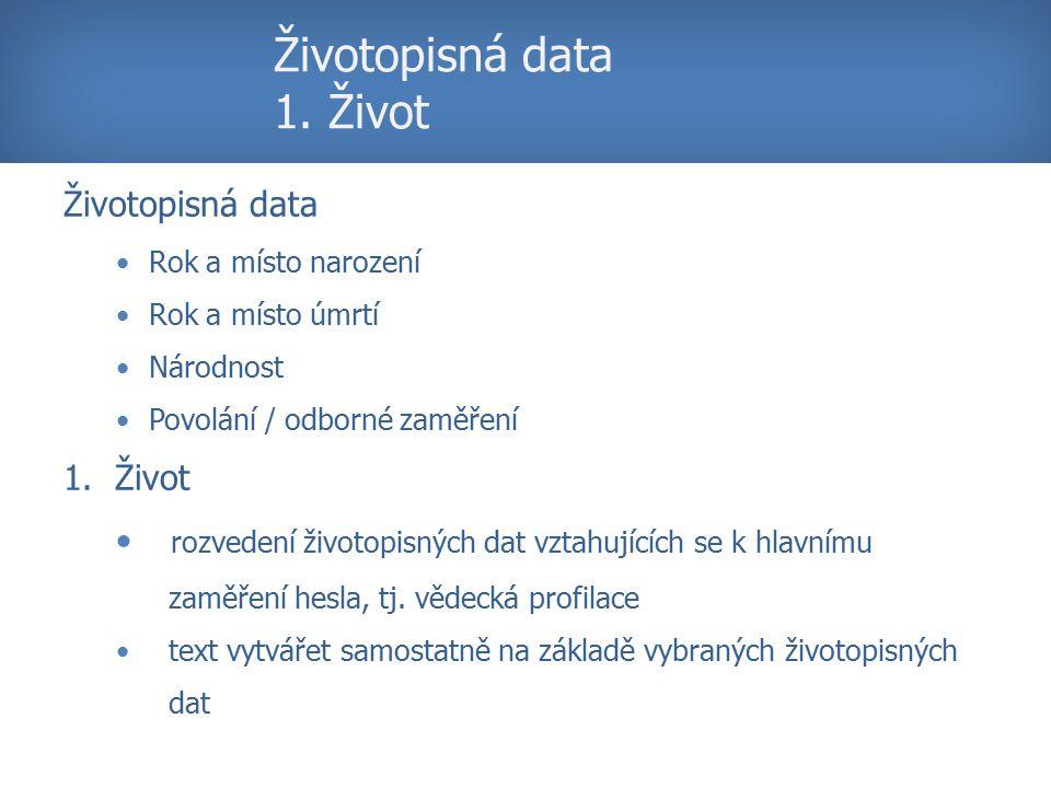Životopisná data 1.