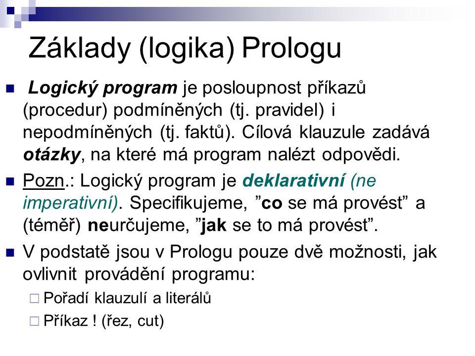 Základy (logika) Prologu: příklad Všichni studenti jsou mladší než Petrova matka.