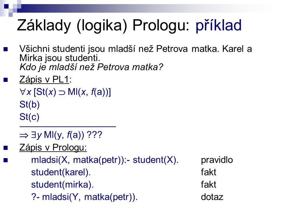 Základy (logika) Prologu: příklad Řešení rezolucí v PL1 (a = Petr, b = Karel, c = Mirka): 1.