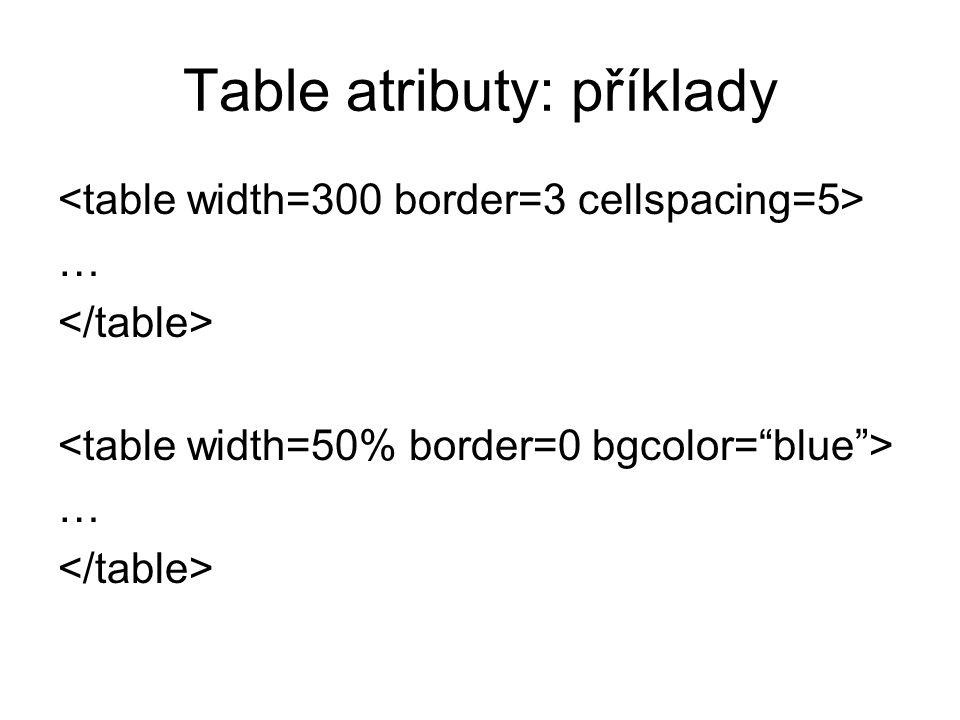 Table atributy: příklady … …