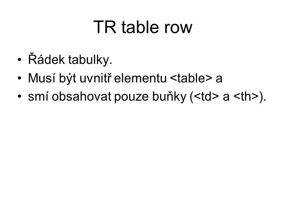 TR table row Řádek tabulky. Musí být uvnitř elementu a smí obsahovat pouze buňky ( a ).