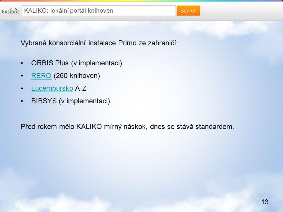 13 Vybrané konsorciální instalace Primo ze zahraničí: ORBIS Plus (v implementaci) RERO (260 knihoven)RERO Lucembursko A-ZLucembursko BIBSYS (v implementaci) Před rokem mělo KALIKO mírný náskok, dnes se stává standardem.