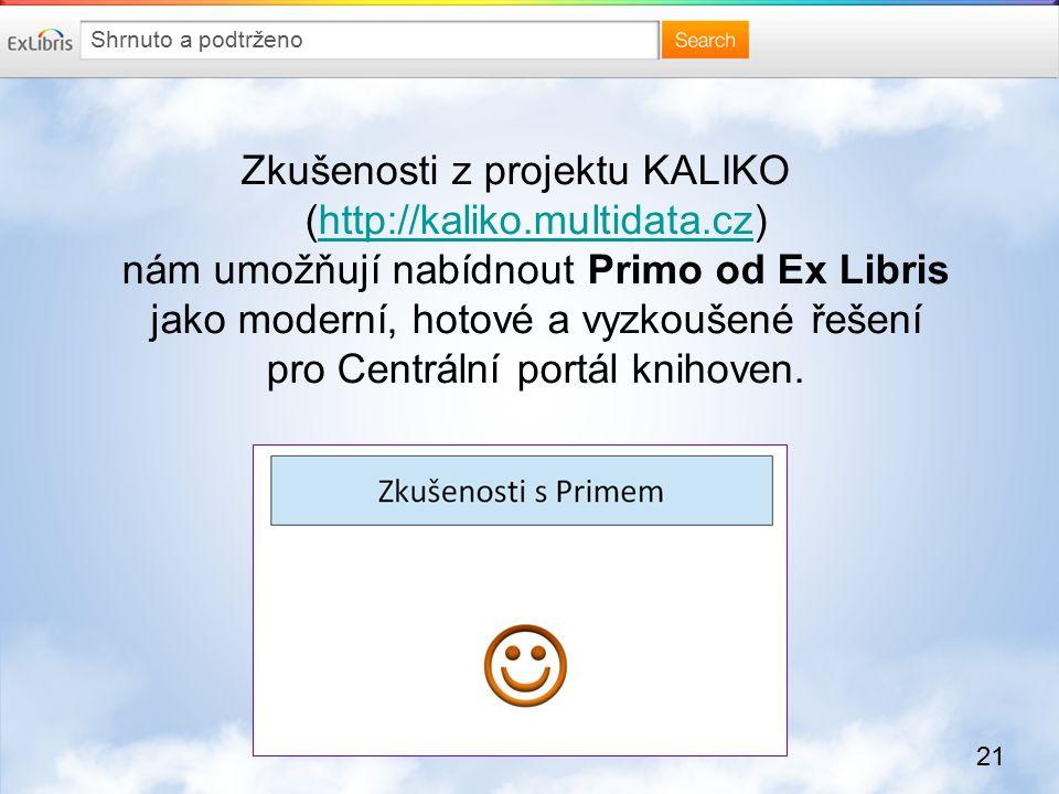 21 Zkušenosti z projektu KALIKO (http://kaliko.multidata.cz) nám umožňují nabídnout Primo od Ex Libris jako moderní, hotové a vyzkoušené řešení pro Centrální portál knihoven.http://kaliko.multidata.cz Shrnuto a podtrženo