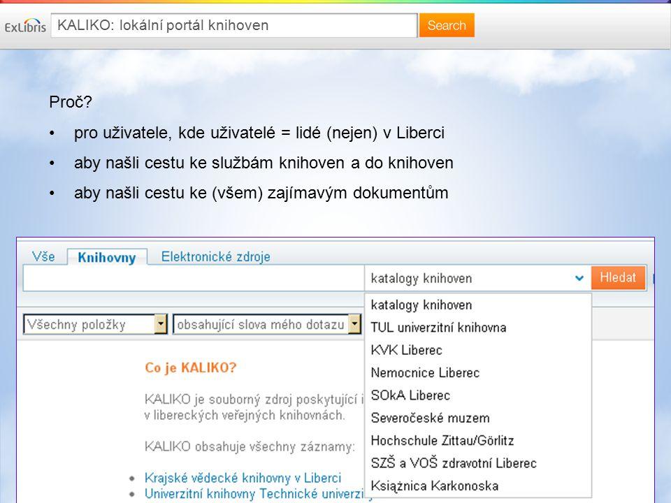 5 KALIKO: lokální portál knihoven Proč? pro uživatele, kde uživatelé = lidé (nejen) v Liberci aby našli cestu ke službám knihoven a do knihoven aby na