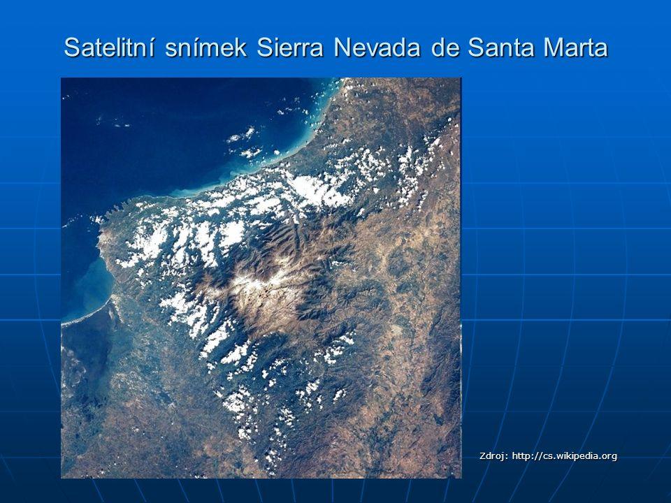 Satelitní snímek Sierra Nevada de Santa Marta Zdroj: http://cs.wikipedia.org