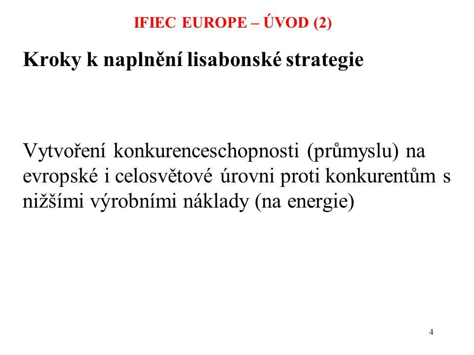 15 IFIEC EUROPE – ÚVOD (13) Co nebylo v prezentaci Požadavky IE: äKonkurenceschopné ceny, nemusí být nejnižší – musí umožnit reprodukci výrobních zařízení äPreferovaná cesta: vlastnický unbundling, zásadní – dlouhodobé kontrakty pro velké odběratele
