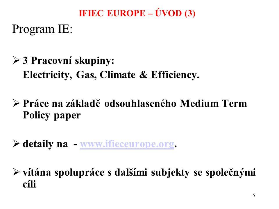 6 IFIEC's klíčové požadavky na trh (elektřina i plyn): ä omezení podílu dominantů na trhu; ä oddělení sítí; ä zajištění TPA; ä vytvoření celoevropského trhu; ä zvýšení transparentnosti trhu tak, aby byla jasná nákladová struktura a dostupnost.