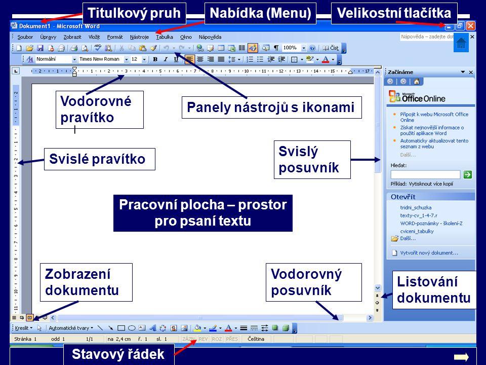 Titulkový pruhNabídka (Menu)Velikostní tlačítka Svislé pravítko Vodorovné pravítko Panely nástrojů s ikonami Pracovní plocha – prostor pro psaní textu