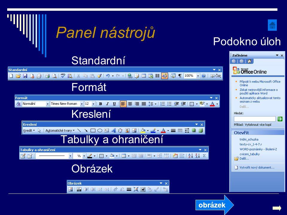Panel nástrojů Podokno úloh Standardní Formát Kreslení Tabulky a ohraničení Obrázek obrázek