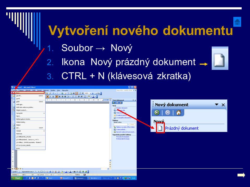 Vytvoření nového dokumentu 1. Soubor → Nový 2. Ikona Nový prázdný dokument 3. CTRL + N (klávesová zkratka)