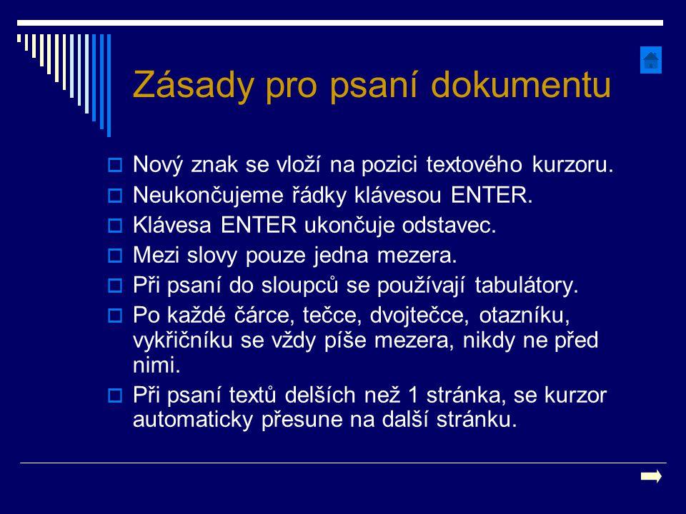 Zásady pro psaní dokumentu  Nový znak se vloží na pozici textového kurzoru.  Neukončujeme řádky klávesou ENTER.  Klávesa ENTER ukončuje odstavec. 