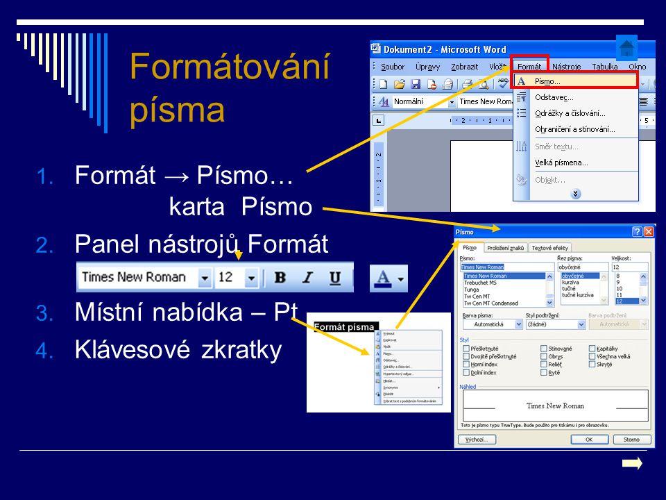 Formátování písma 1. Formát → Písmo… karta Písmo 2. Panel nástrojů Formát 3. Místní nabídka – Pt 4. Klávesové zkratky