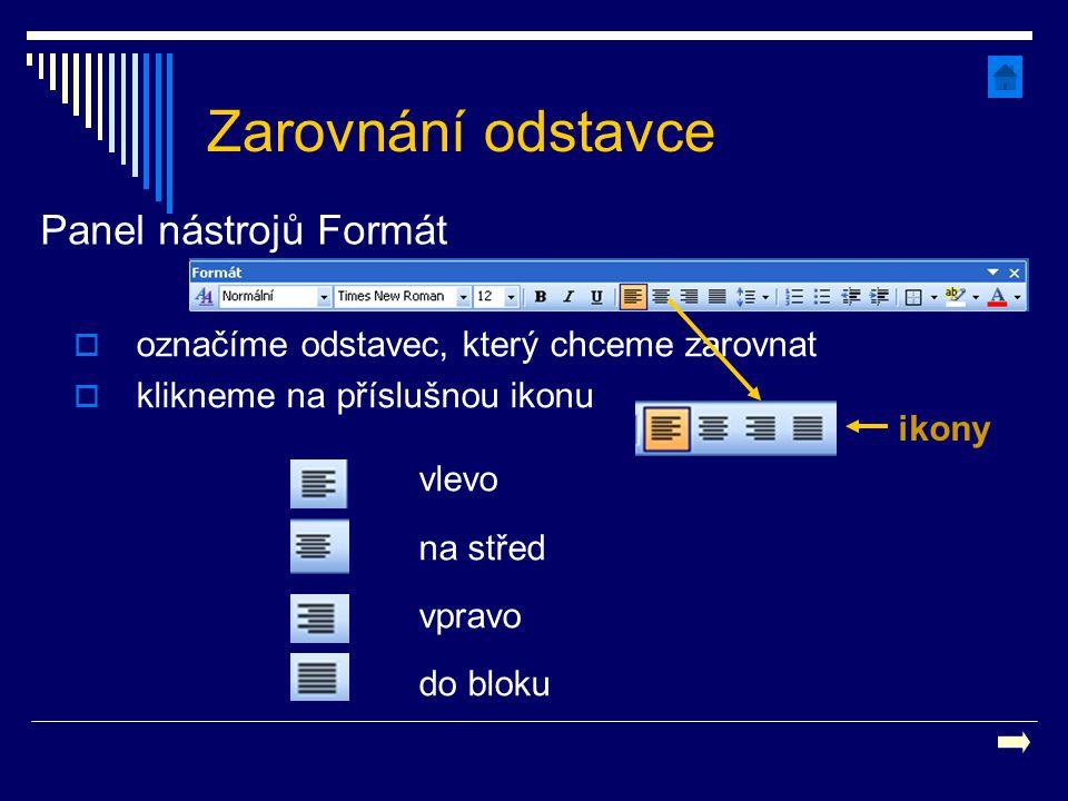 Zarovnání odstavce vlevo na střed vpravo do bloku  označíme odstavec, který chceme zarovnat  klikneme na příslušnou ikonu Panel nástrojů Formát ikon