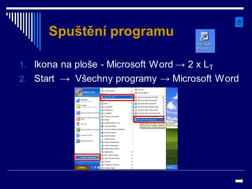Spuštění programu 1. Ikona na ploše - Microsoft Word → 2 x L T 2. Start → Všechny programy → Microsoft Word