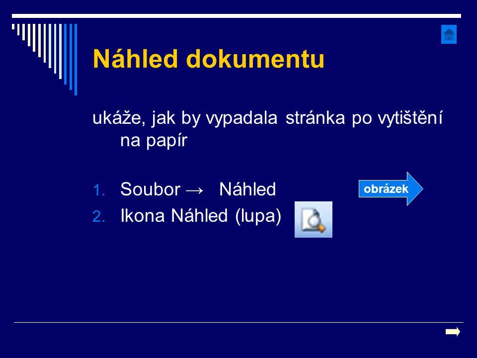 Náhled dokumentu ukáže, jak by vypadala stránka po vytištění na papír 1. Soubor → Náhled 2. Ikona Náhled (lupa) obrázek
