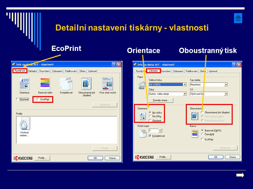 Detailní nastavení tiskárny - vlastnosti EcoPrint Oboustranný tiskOrientace
