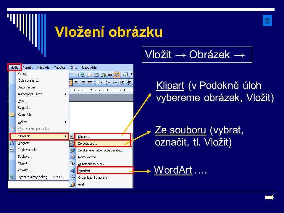 Vložení obrázku Vložit → Obrázek → Ze souboru Ze souboru (vybrat, označit, tl. Vložit) WordArt …. Klipart (v Podokně úloh vybereme obrázek, Vložit)