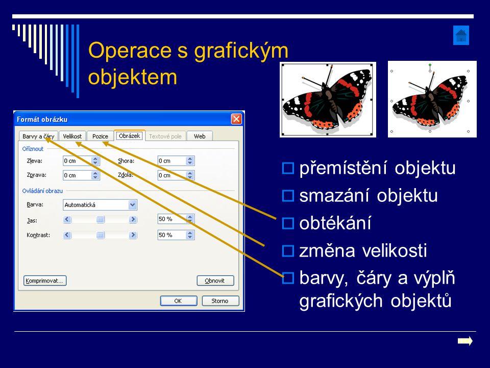 Operace s grafickým objektem  přemístění objektu  smazání objektu  obtékání  změna velikosti  barvy, čáry a výplň grafických objektů