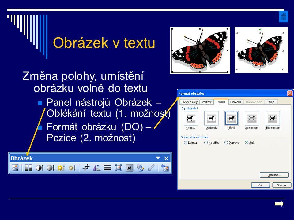 Obrázek v textu Změna polohy, umístění obrázku volně do textu Panel nástrojů Obrázek – Oblékání textu (1. možnost) Formát obrázku (DO) – Pozice (2. mo