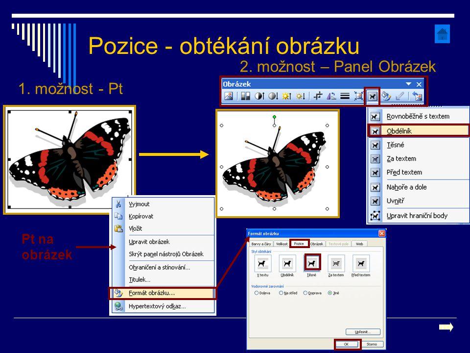 Pozice - obtékání obrázku Pt na obrázek 1. možnost - Pt 2. možnost – Panel Obrázek