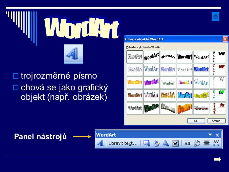  trojrozměrné písmo  chová se jako grafický objekt (např. obrázek) Panel nástrojů