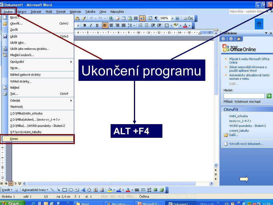 Ukončení programu ALT +F4