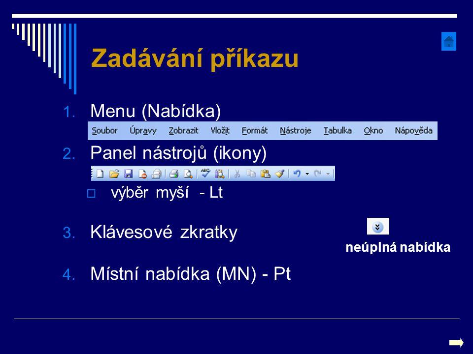 Zadávání příkazu 1. Menu (Nabídka) 2. Panel nástrojů (ikony)  výběr myší - Lt 3. Klávesové zkratky 4. Místní nabídka (MN) - Pt neúplná nabídka