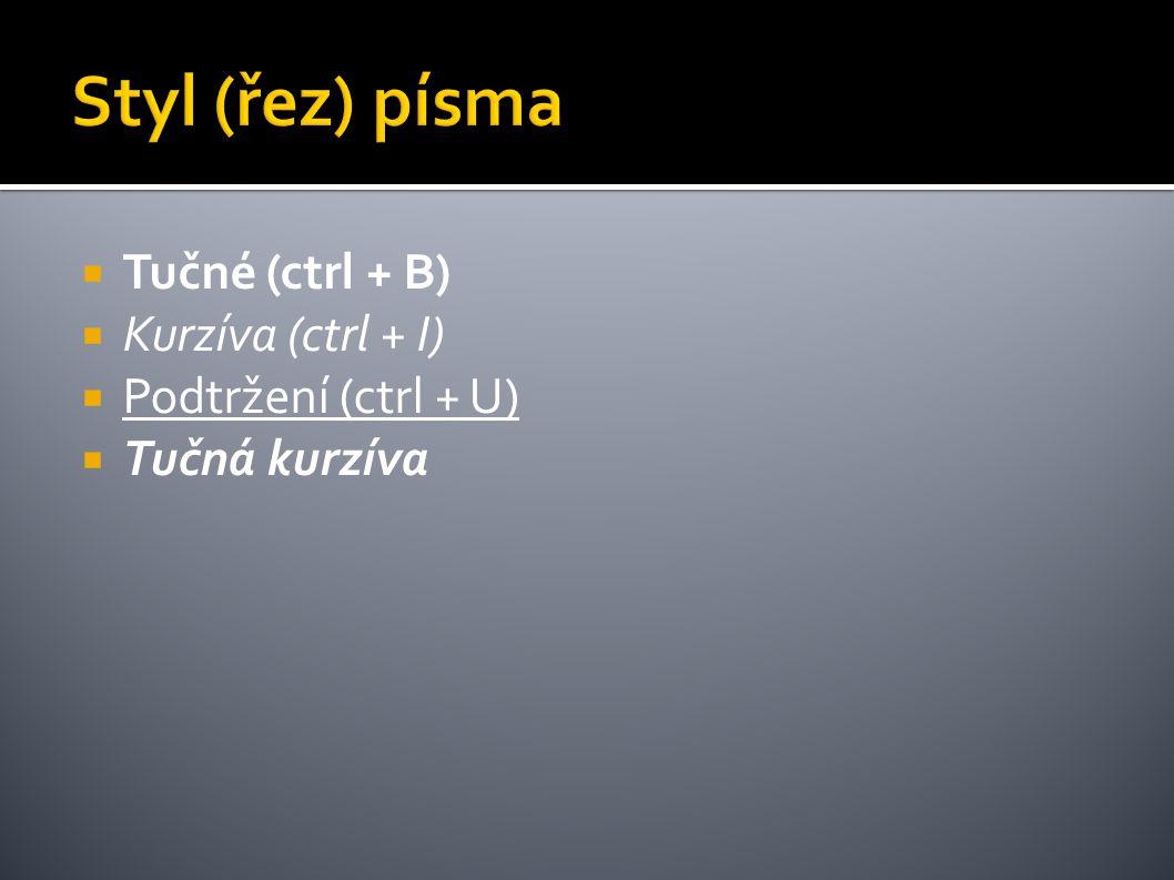  Tučné (ctrl + B)  Kurzíva (ctrl + I)  Podtržení (ctrl + U)  Tučná kurzíva