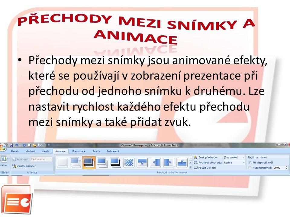 Přechody mezi snímky jsou animované efekty, které se používají v zobrazení prezentace při přechodu od jednoho snímku k druhému.