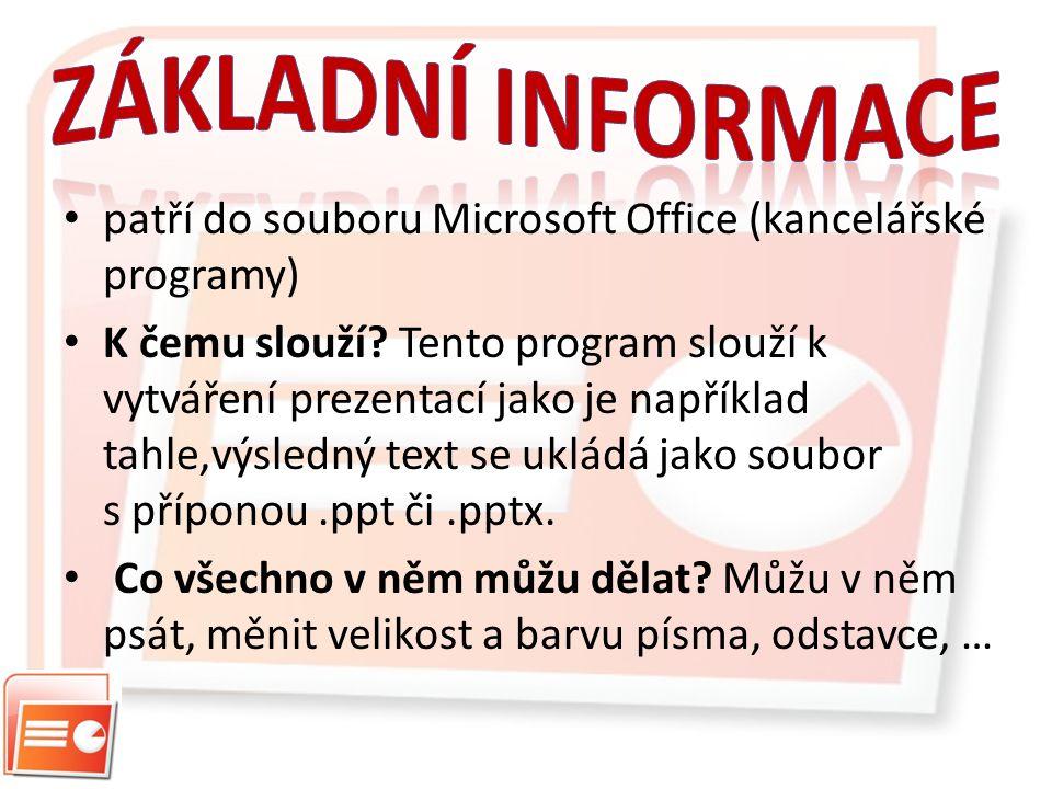 patří do souboru Microsoft Office (kancelářské programy) K čemu slouží.