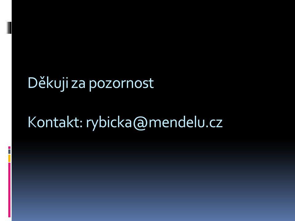 Děkuji za pozornost Kontakt: rybicka@mendelu.cz