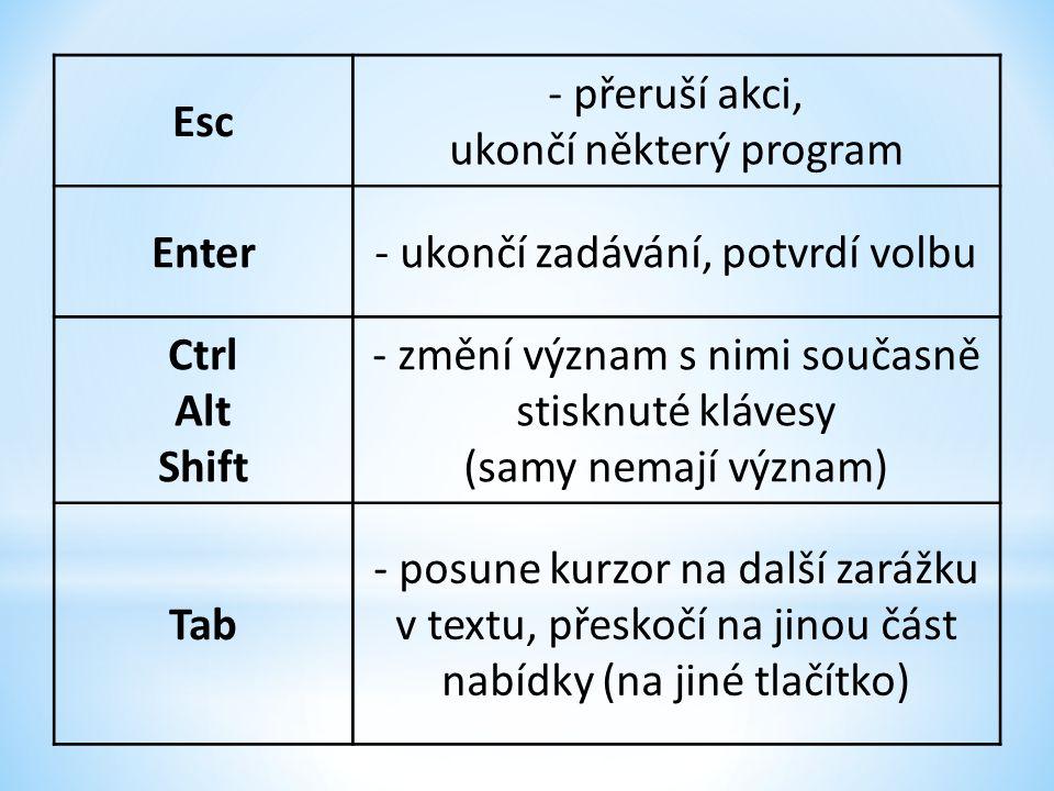 Esc - přeruší akci, ukončí některý program Enter- ukončí zadávání, potvrdí volbu Ctrl Alt Shift - změní význam s nimi současně stisknuté klávesy (samy nemají význam) Tab - posune kurzor na další zarážku v textu, přeskočí na jinou část nabídky (na jiné tlačítko)