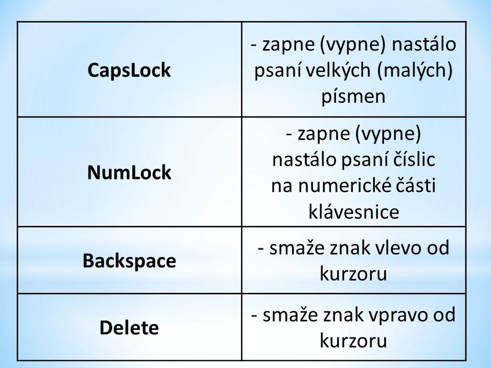 CapsLock - zapne (vypne) nastálo psaní velkých (malých) písmen NumLock - zapne (vypne) nastálo psaní číslic na numerické části klávesnice Backspace - smaže znak vlevo od kurzoru Delete - smaže znak vpravo od kurzoru