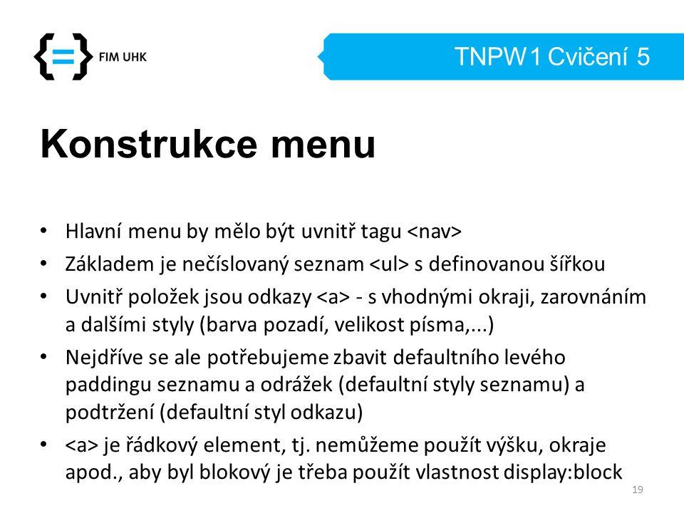 TNPW1 Cvičení 5 Konstrukce menu Hlavní menu by mělo být uvnitř tagu Základem je nečíslovaný seznam s definovanou šířkou Uvnitř položek jsou odkazy - s