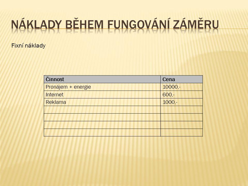 ČinnostCena Pronájem + energie10000,- Internet600,- Reklama1000,- Fixní náklady