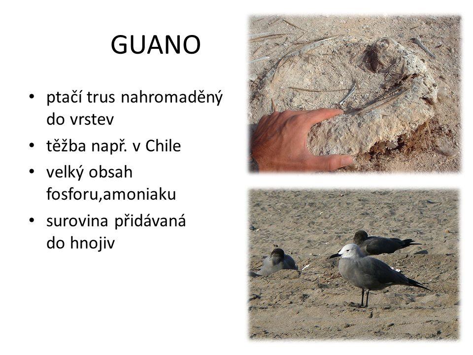GUANO ptačí trus nahromaděný do vrstev těžba např. v Chile velký obsah fosforu,amoniaku surovina přidávaná do hnojiv
