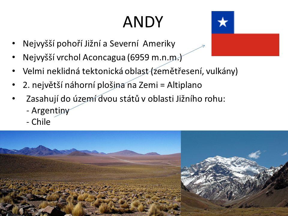 ANDY Nejvyšší pohoří Jižní a Severní Ameriky Nejvyšší vrchol Aconcagua (6959 m.n.m.) Velmi neklidná tektonická oblast (zemětřesení, vulkány) 2. největ