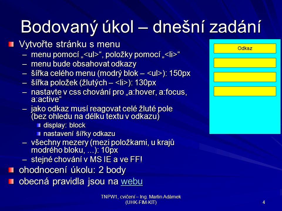 """TNPW1, cvičení – Ing. Martin Adámek (UHK-FIM-KIT) 4 Bodovaný úkol – dnešní zadání Vytvořte stránku s menu –menu pomocí """" """", položky pomocí """" """" –menu b"""