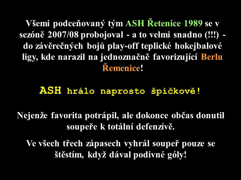 Všemi podceňovaný tým ASH Řetenice 1989 se v sezóně 2007/08 probojoval - a to velmi snadno (!!!) - do závěrečných bojů play-off teplické hokejbalové l