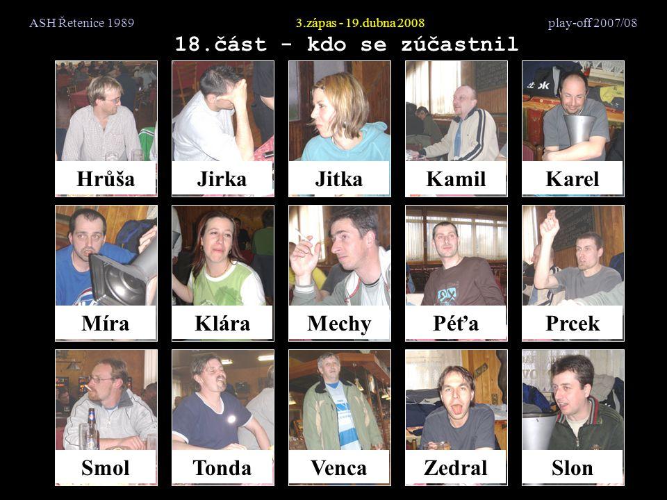 ASH Řetenice 19893.zápas - 19.dubna 2008 play-off 2007/08 18.část - kdo se zúčastnil HrůšaJirkaJitkaKamilKarel MíraKláraMechyPéťaPrcek SmolTondaVencaZedralSlon