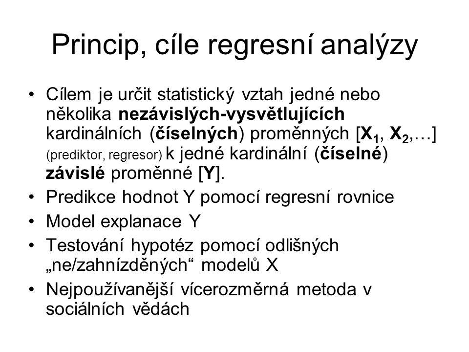 Lineární regresní analýza (OLS) SYNTAX SPSS (základní zadání) REGRESSION /MISSING LISTWISE /STATISTICS COEFF OUTS R ANOVA /CRITERIA=PIN(.05) POUT(.10) /NOORIGIN /DEPENDENT HDP /METHOD=ENTER PracSila Kapital Cas.