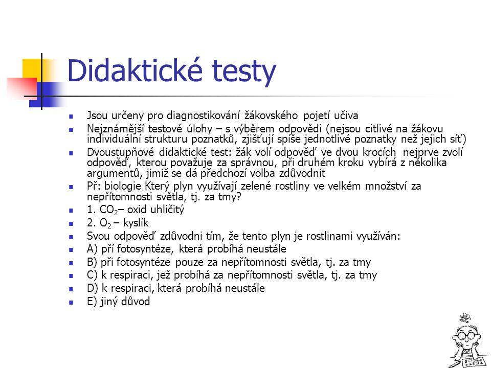Didaktické testy Jsou určeny pro diagnostikování žákovského pojetí učiva Nejznámější testové úlohy – s výběrem odpovědi (nejsou citlivé na žákovu indi