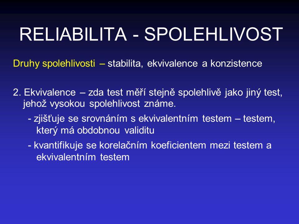 RELIABILITA - SPOLEHLIVOST Druhy spolehlivosti – stabilita, ekvivalence a konzistence 2. Ekvivalence – zda test měří stejně spolehlivě jako jiný test,