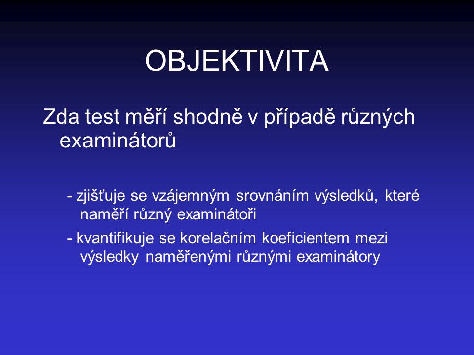 OBJEKTIVITA Zda test měří shodně v případě různých examinátorů - zjišťuje se vzájemným srovnáním výsledků, které naměří různý examinátoři - kvantifiku