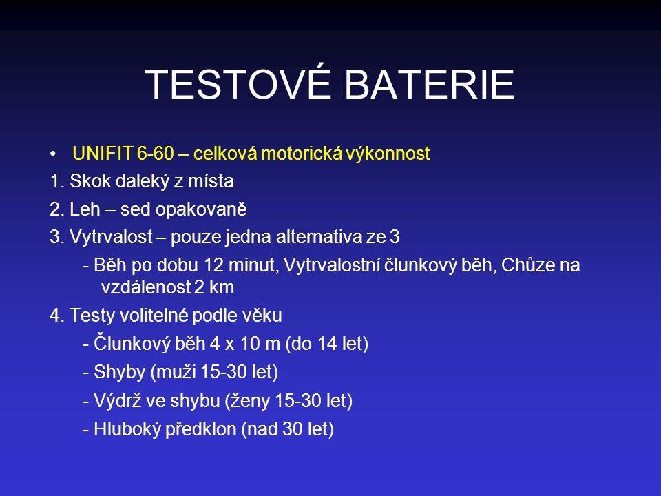 TESTOVÉ BATERIE UNIFIT 6-60 – celková motorická výkonnost 1. Skok daleký z místa 2. Leh – sed opakovaně 3. Vytrvalost – pouze jedna alternativa ze 3 -