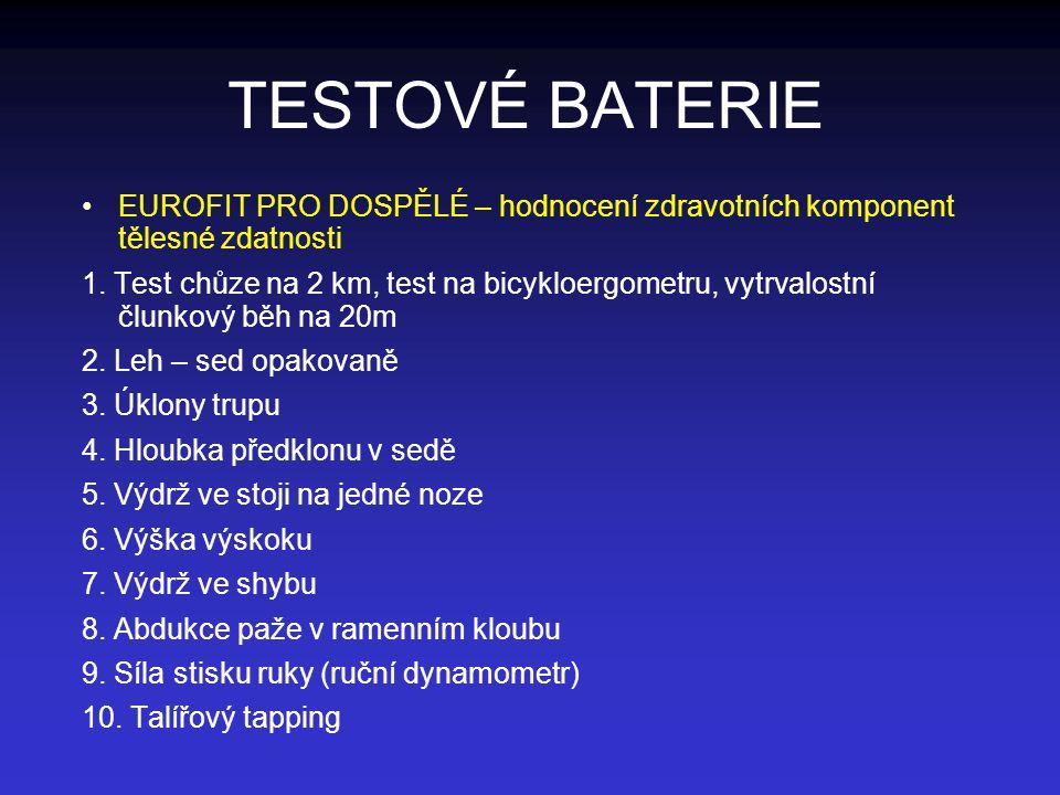 TESTOVÉ BATERIE EUROFIT PRO DOSPĚLÉ – hodnocení zdravotních komponent tělesné zdatnosti 1. Test chůze na 2 km, test na bicykloergometru, vytrvalostní