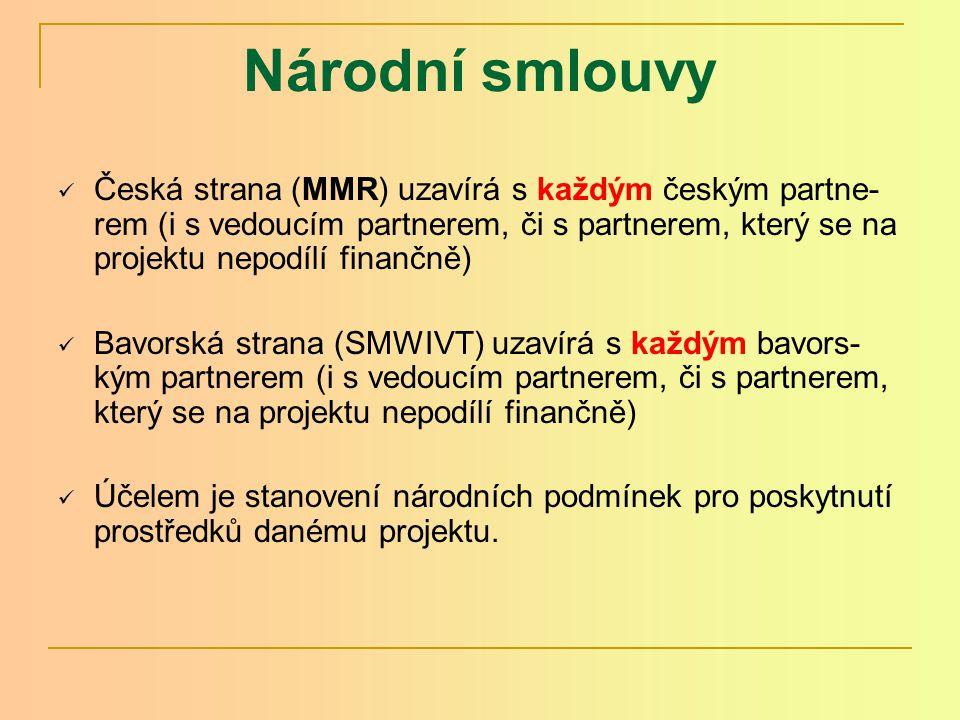 Národní smlouvy Česká strana (MMR) uzavírá s každým českým partne- rem (i s vedoucím partnerem, či s partnerem, který se na projektu nepodílí finančně) Bavorská strana (SMWIVT) uzavírá s každým bavors- kým partnerem (i s vedoucím partnerem, či s partnerem, který se na projektu nepodílí finančně) Účelem je stanovení národních podmínek pro poskytnutí prostředků danému projektu.