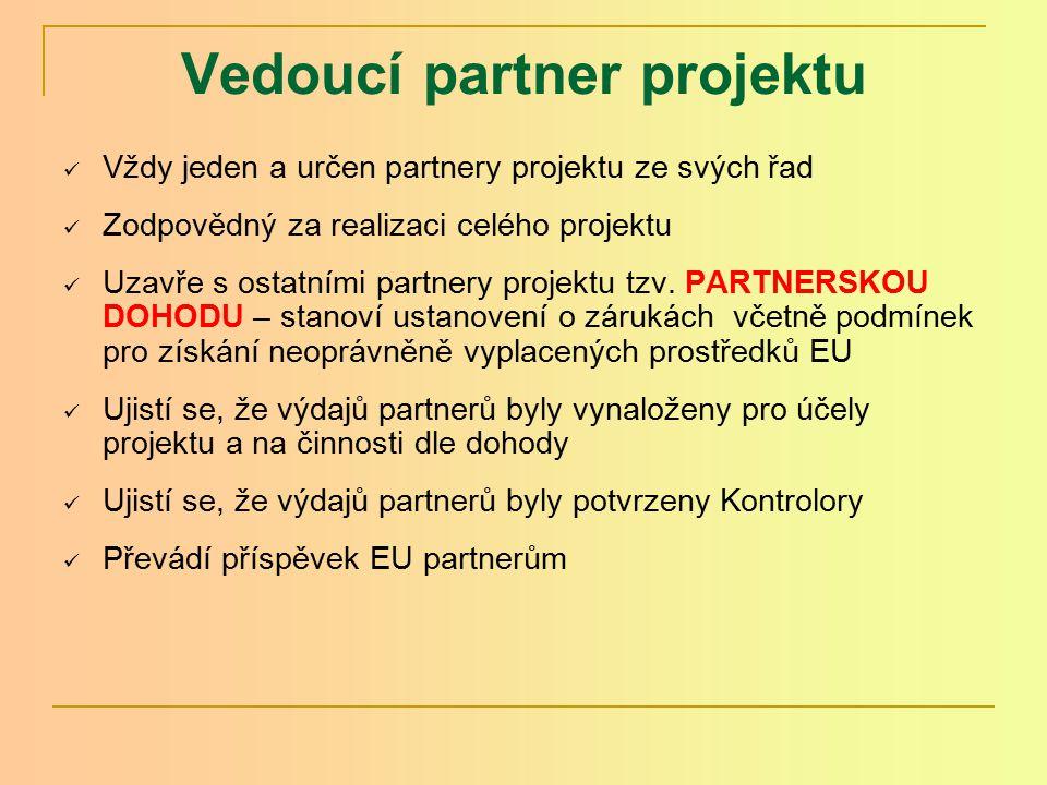Vedoucí partner projektu Vždy jeden a určen partnery projektu ze svých řad Zodpovědný za realizaci celého projektu Uzavře s ostatními partnery projektu tzv.