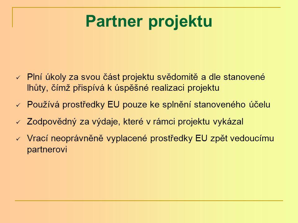Partnerská dohoda(2) Obsah dohody vychází pouze z nařízení ES: Účel Definice partnera Povinnosti vedoucího partnera a partnera projektu Dokumenty Změna partnerské dohody Závěrečná ustanovení Nabytí platnosti Podpisy partnerů Příloha Partnerské dohody: Ustanovení o zárukách (buď využít navržený text nebo formulovat vlastní ustanovení)