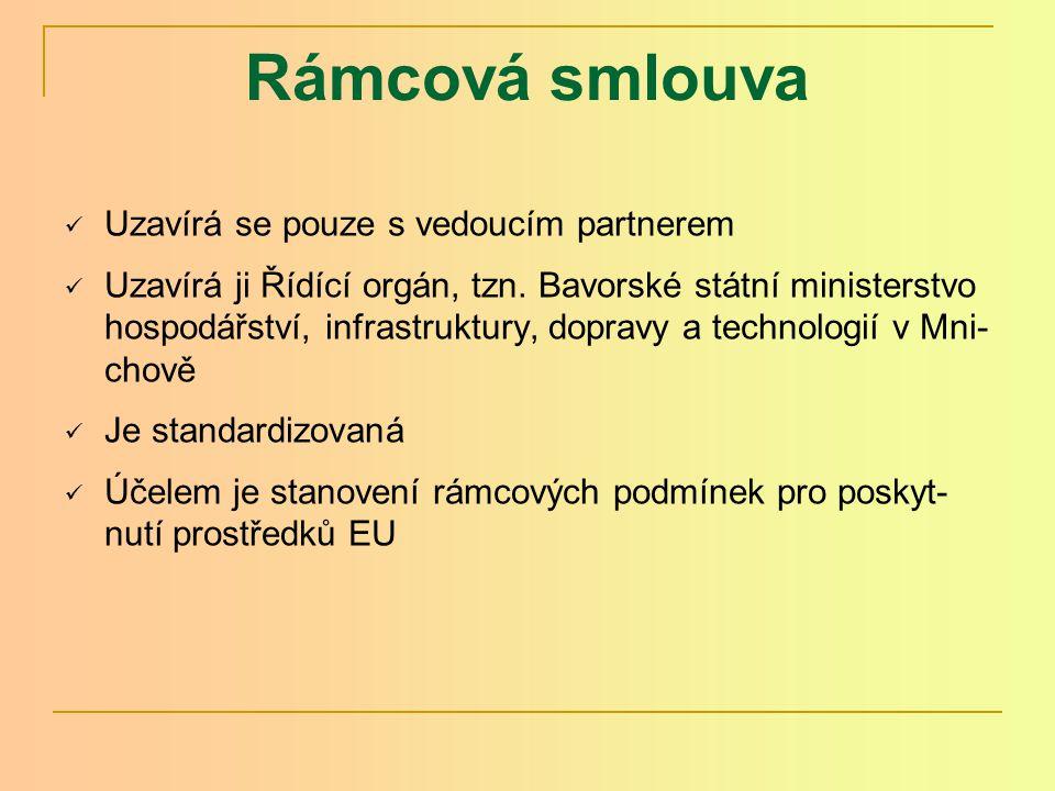 Rámcová smlouva Uzavírá se pouze s vedoucím partnerem Uzavírá ji Řídící orgán, tzn.